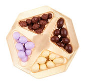 Chocolate almonds box — Stock Photo