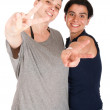 Sisters showing victory sign — Stock Photo #6217686