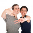 Sisters showing victory sign — Stock Photo #6217701