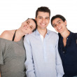 Brother and sisters holding banner — Stock Photo