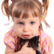 Little girl holding kitten — Stock Photo