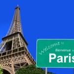 Willkommen bei Paris Zeichen — Stockfoto