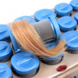 Hot rollers with blonde hair — Stock Photo #5612844