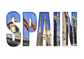 Spain text with different tourist spots — Stock Photo