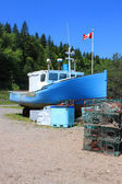 Beached boat in St. Martins, New Brunswick — Stock Photo