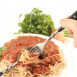 Stock Photo: Spaghetti dinner
