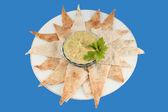 Hummus and pita — Stock Photo