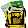 School bag full of books — Stock Photo