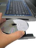 Disk bilgisayar koyarak — Stok fotoğraf