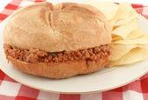 Sloppy hamburger — Stock Photo