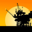 Stock Vector: Oil platform silhouette