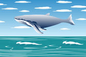 Flying sperm whale — Stock Vector