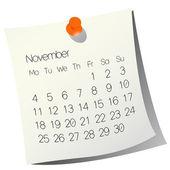 2013 kalendarz listopadowy — Wektor stockowy