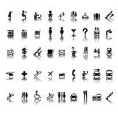 αεροδρόμιο εικονογράμματα σύνολο — Διανυσματικό Αρχείο