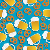 Beer and pretzels pattern — Stock Vector