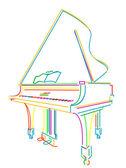Grand piano over white — Stock Vector