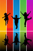 Jumping children silhouettes — Vector de stock