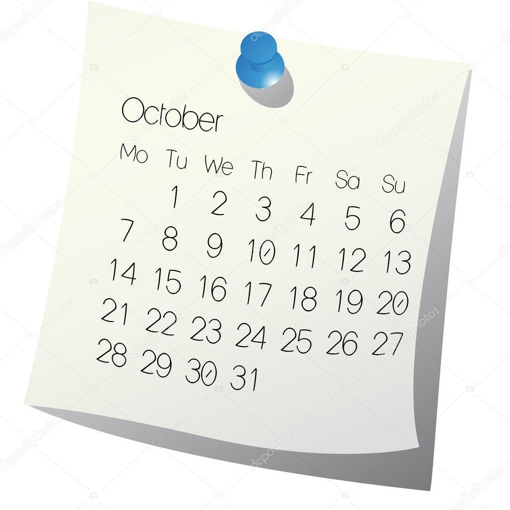October Calendar Illustration : October calendar — stock vector laschonrichard