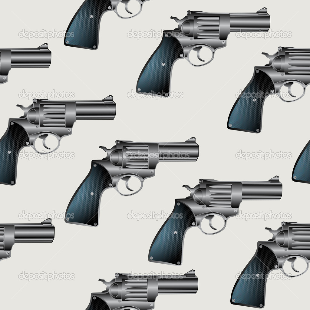 Seamless background pattern with hand gun, revolver — Stock Vector #6135418