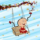 Swinging girl — Stock Vector