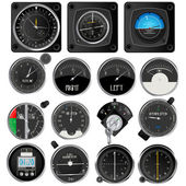 Aircraft instruments collection — Stockvektor