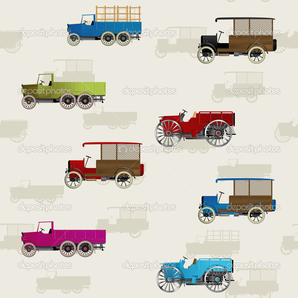 Seamless background with vintage cars in colors