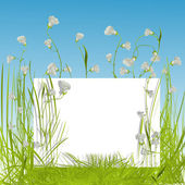 White sing in the grass — Vector de stock