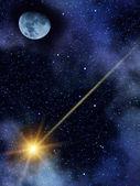 Hemel nacht sterren komeet maan — Stockfoto