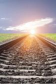 Railway sun sky clouds — Stock Photo