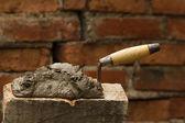 Tool shovel glue cement — Stock Photo