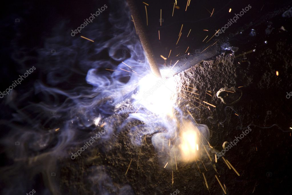 Welding metal process smoke sparks — Stock Photo #5782787