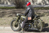 Asphalted road motorcycle traveler — Stock Photo
