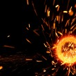 Sparks flare cutting steel — Stock Photo #6157304