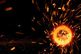 Sparks flare cutting steel — Stock Photo