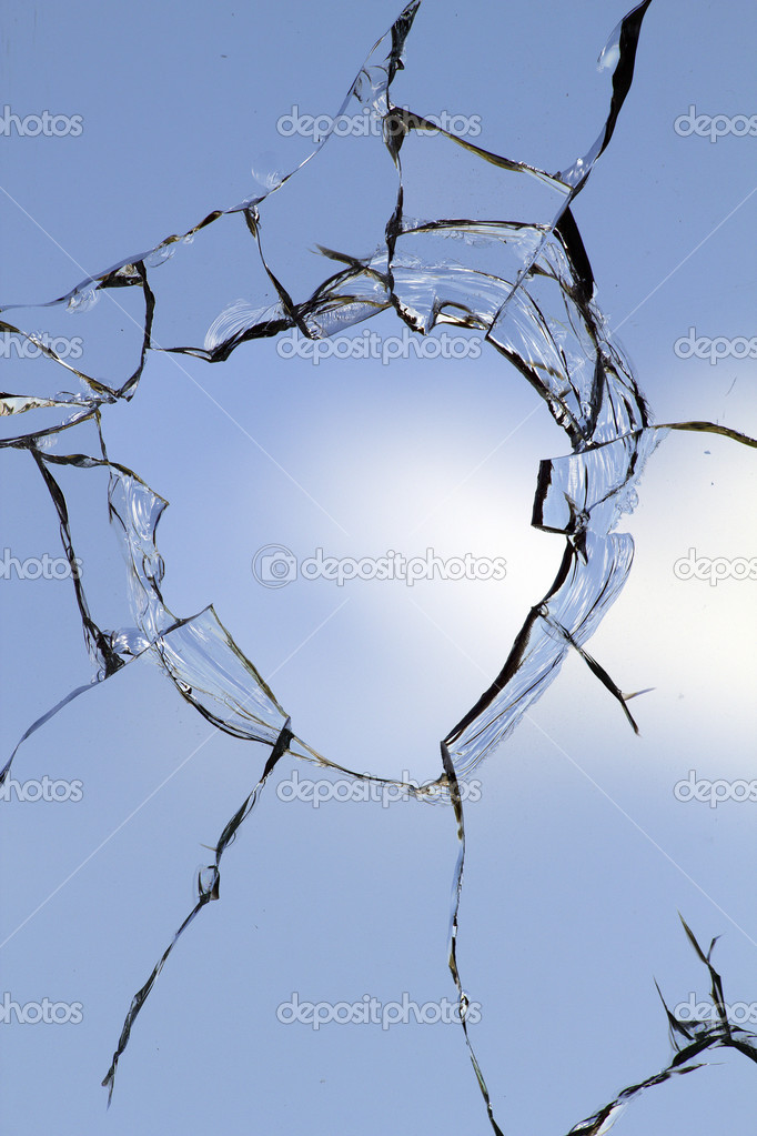 Glass  hole  cracks  broken  Stock Photo #6380509
