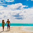 Stock Photo: Couple of young walking on coastline