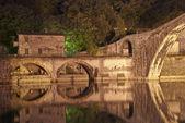 Devils Bridge at Night in Lucca, Italy — Stock Photo