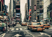 New York Streets and Taxis — Stock Photo
