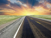 American Road at Sunset, U.S.A. — Stock Photo