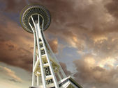 Sunset over Space Needle in Seattle, Washington, U.S.A. — Stock Photo