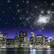 Starry Night over New York City Skyscrapers — Stock Photo