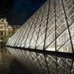 Night and Stars over Louvre, Paris — Stock Photo