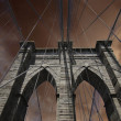 sky over brooklyn bridge in new york city — Stock Photo