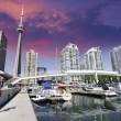 Downtown View of Toronto from the Pier - Stock Photo