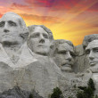 Mount Rushmore at Sunset, U.S.A. - Stock Photo