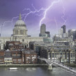 Stock Photo: Storm over Millennium Bridge in London