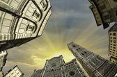 Fisheye view of Piazza del Duomo in Florence — ストック写真