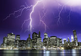Storm in the Night over New York Skyscrapers — Stock Photo