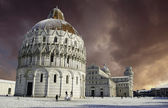 Baptistery in Piazza dei Miracoli after a Snowfall, Pisa — Stock Photo