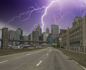 Storm over New York City Skyscrapers — Stock Photo